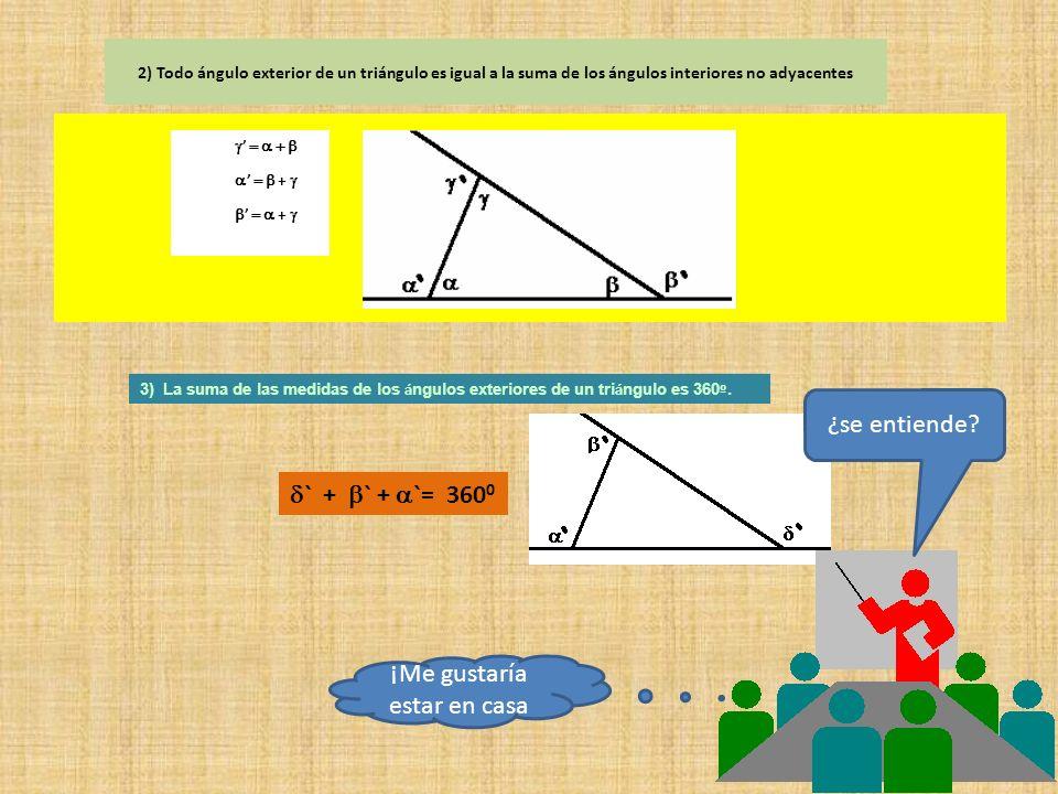 TRIANGULOS Definición: Un triángulo es la unión de tres rectas que se cortan de dos en dos Teoremas 1) La suma de las medidas de los á ngulos interior