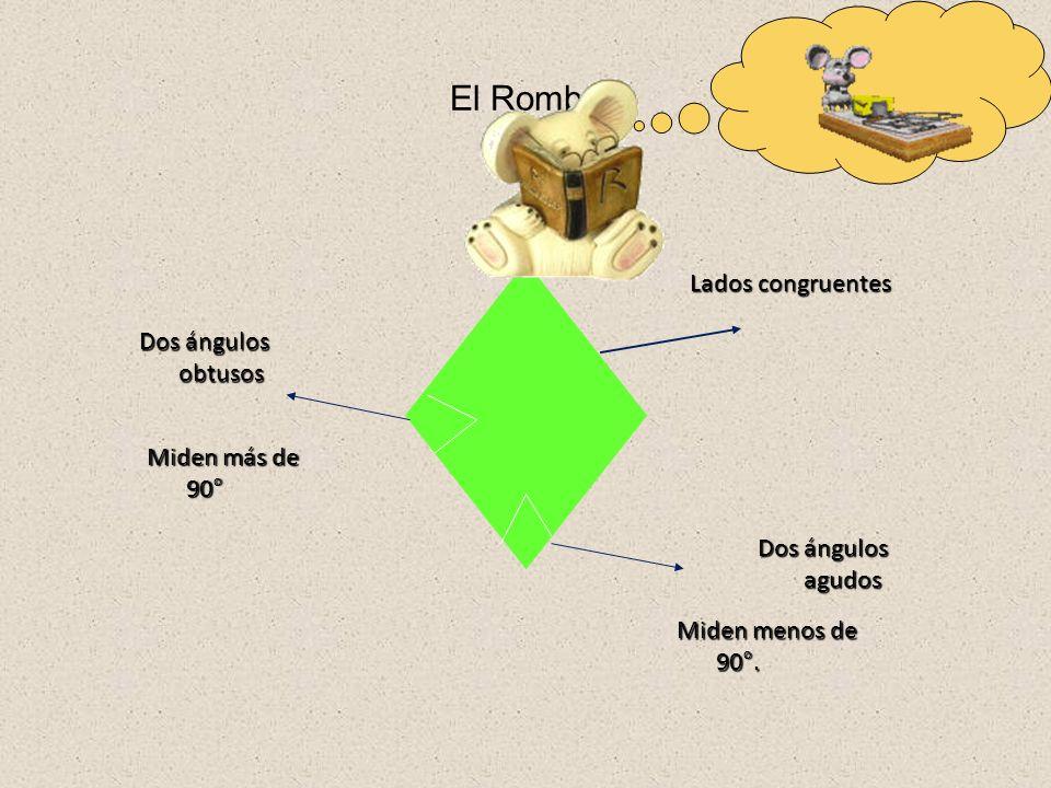 El Rectángulo Pares de lados congruentes 4 ángulos rectos, miden 90°