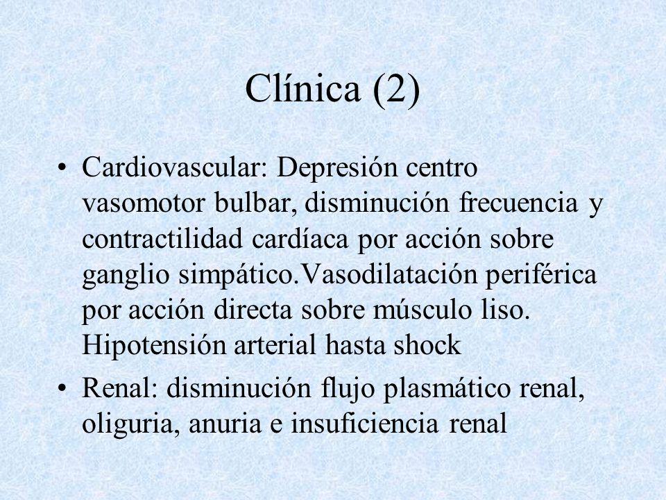 Clínica SNC: Depresión sensorio de leve a coma, con hipotermia,hiporreflexia,falta de respuesta a estímulos dolorosos, estrabismo, pupilas mióticas,ni