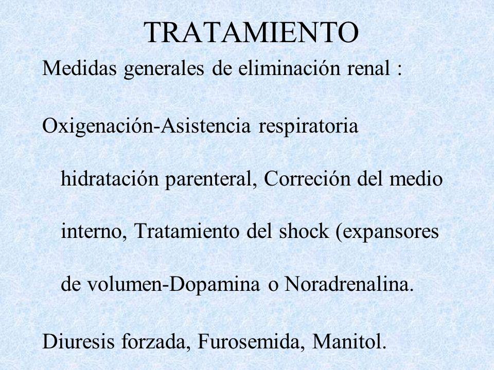 TRATAMIENTO Medidas generales de eliminación : lavado gástrico, intubación endotraqueal, y administración de dosis múltiples de carbón activado para e