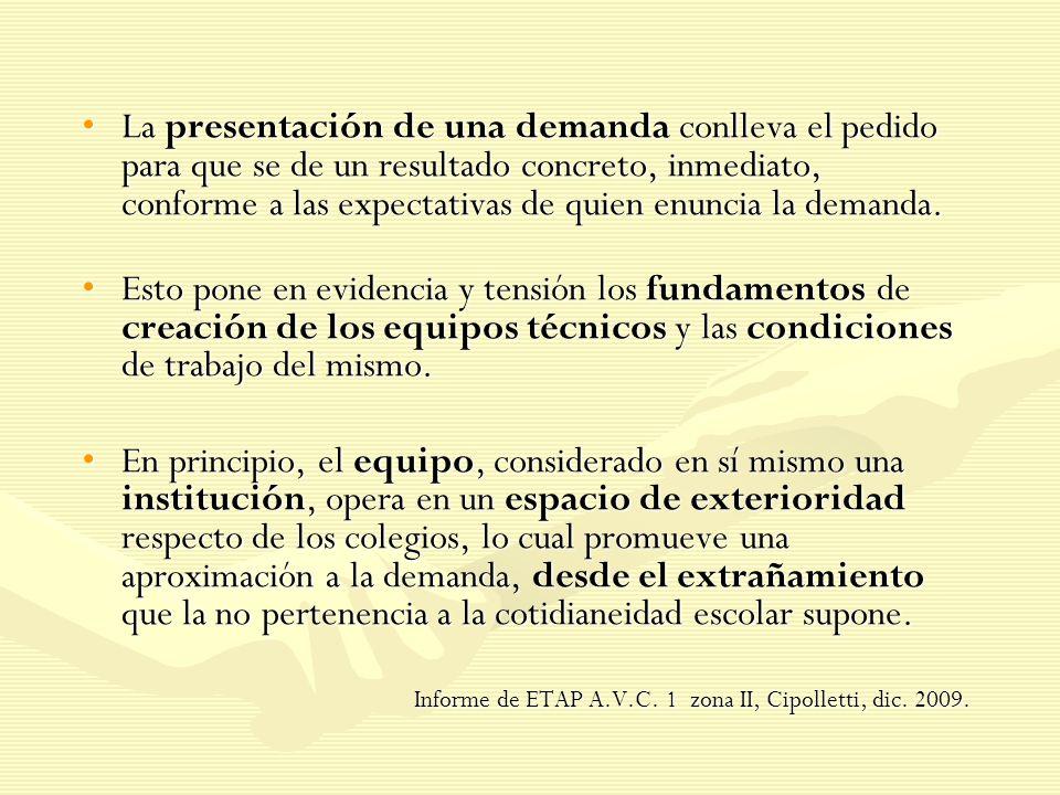 La presentación de una demanda conlleva el pedido para que se de un resultado concreto, inmediato, conforme a las expectativas de quien enuncia la dem