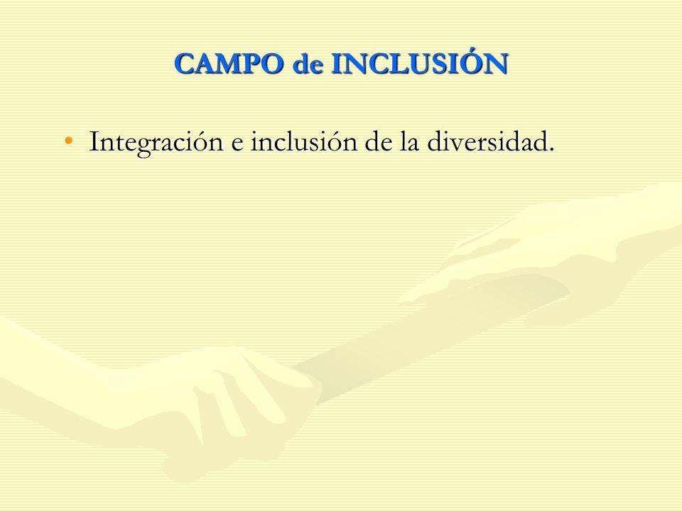 CAMPO de INCLUSIÓN Integración e inclusión de la diversidad.Integración e inclusión de la diversidad.