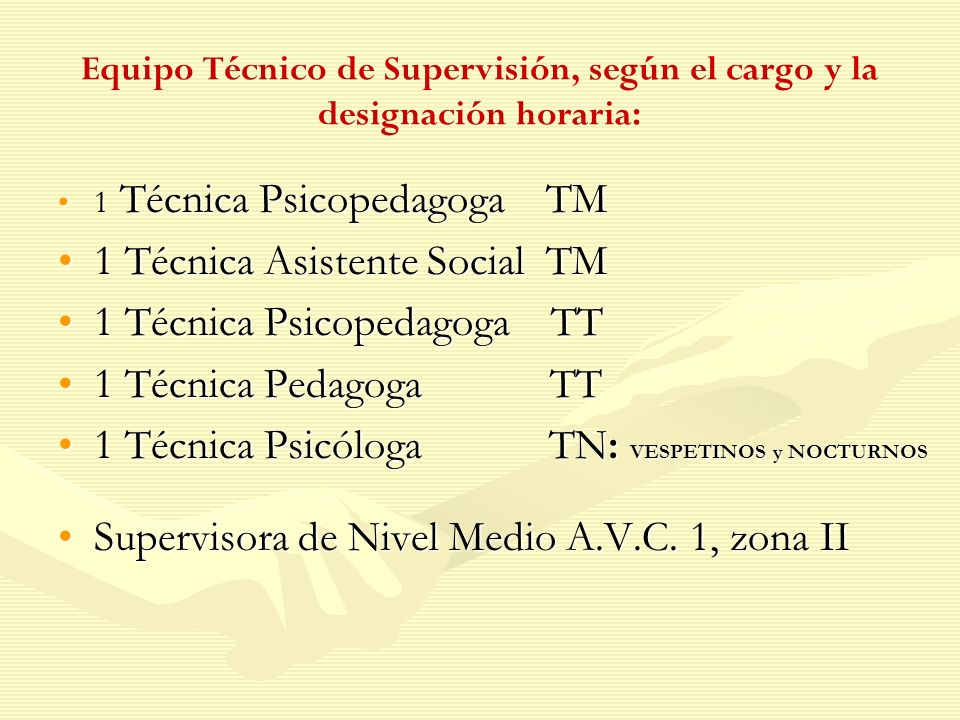Equipo Técnico de Supervisión, según el cargo y la designación horaria: 1 Técnica Psicopedagoga TM1 Técnica Psicopedagoga TM 1 Técnica Asistente Socia