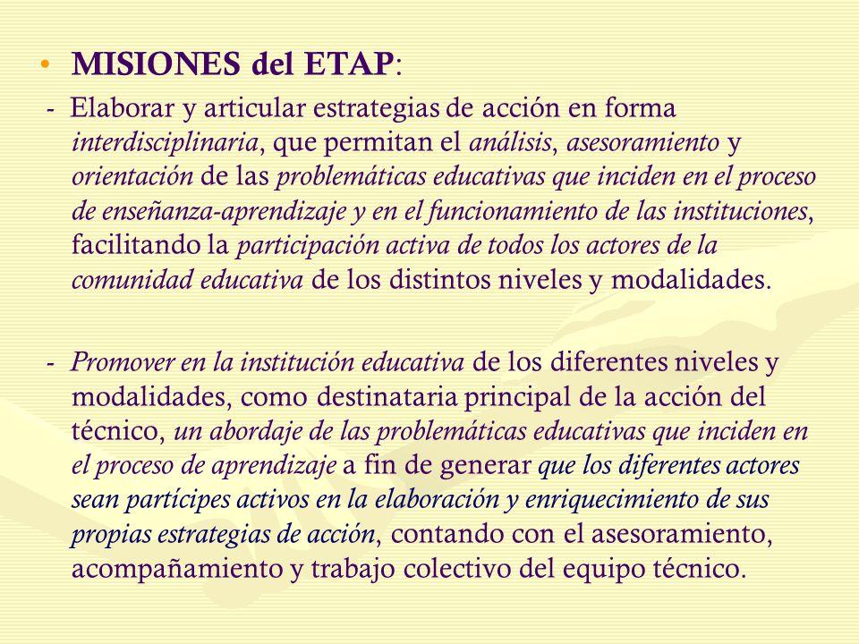 MISIONES del ETAP : - Elaborar y articular estrategias de acción en forma interdisciplinaria, que permitan el análisis, asesoramiento y orientación de