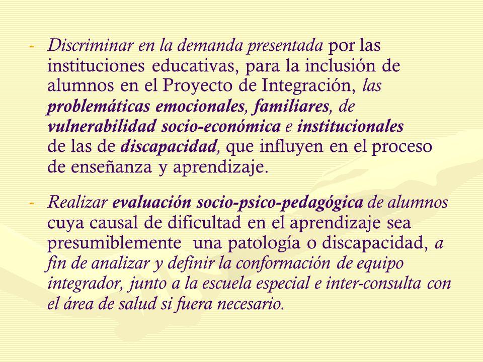 - - Discriminar en la demanda presentada por las instituciones educativas, para la inclusión de alumnos en el Proyecto de Integración, las problemátic