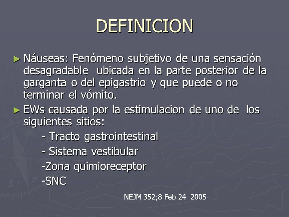 DEFINICION Náuseas: Fenómeno subjetivo de una sensación desagradable ubicada en la parte posterior de la garganta o del epigastrio y que puede o no te