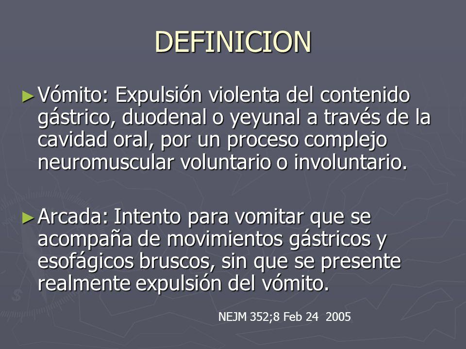 DEFINICION Vómito: Expulsión violenta del contenido gástrico, duodenal o yeyunal a través de la cavidad oral, por un proceso complejo neuromuscular vo