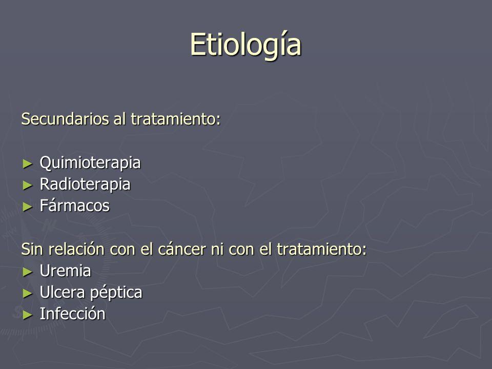 Etiología Secundarios al tratamiento: Quimioterapia Quimioterapia Radioterapia Radioterapia Fármacos Fármacos Sin relación con el cáncer ni con el tra