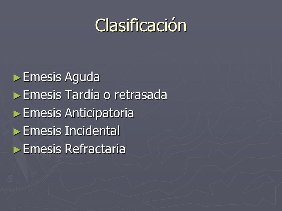 Clasificación Emesis Aguda Emesis Aguda Emesis Tardía o retrasada Emesis Tardía o retrasada Emesis Anticipatoria Emesis Anticipatoria Emesis Incidenta