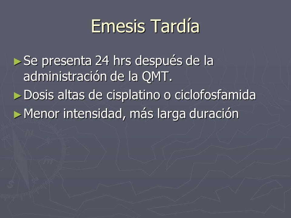 Emesis Tardía Se presenta 24 hrs después de la administración de la QMT. Se presenta 24 hrs después de la administración de la QMT. Dosis altas de cis