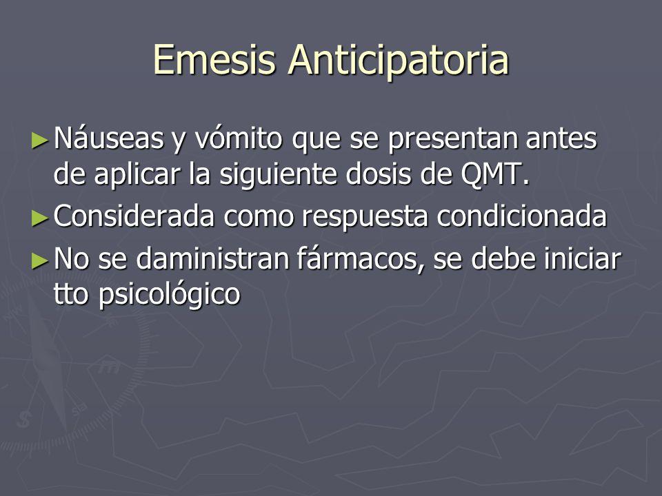 Emesis Anticipatoria Náuseas y vómito que se presentan antes de aplicar la siguiente dosis de QMT. Náuseas y vómito que se presentan antes de aplicar