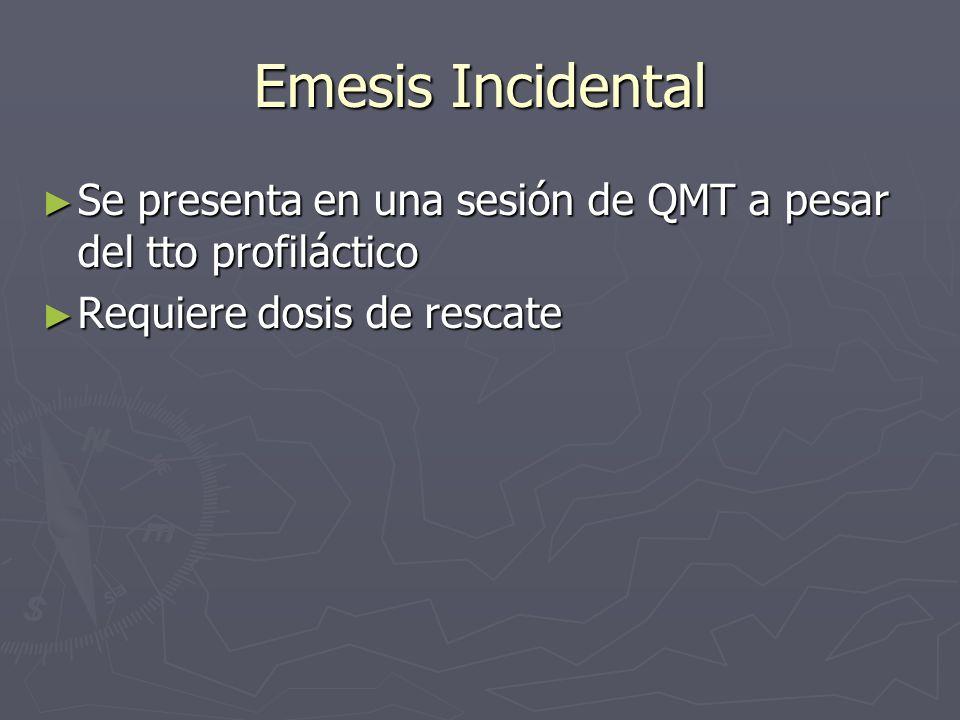 Emesis Incidental Se presenta en una sesión de QMT a pesar del tto profiláctico Se presenta en una sesión de QMT a pesar del tto profiláctico Requiere