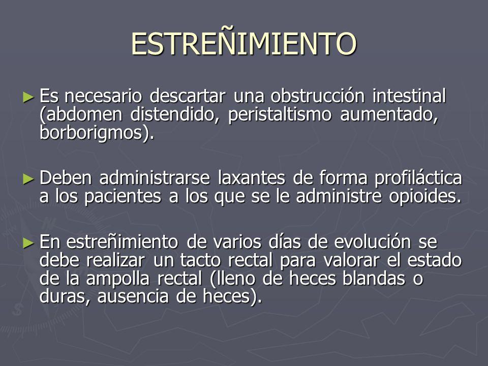 ESTREÑIMIENTO Es necesario descartar una obstrucción intestinal (abdomen distendido, peristaltismo aumentado, borborigmos). Es necesario descartar una