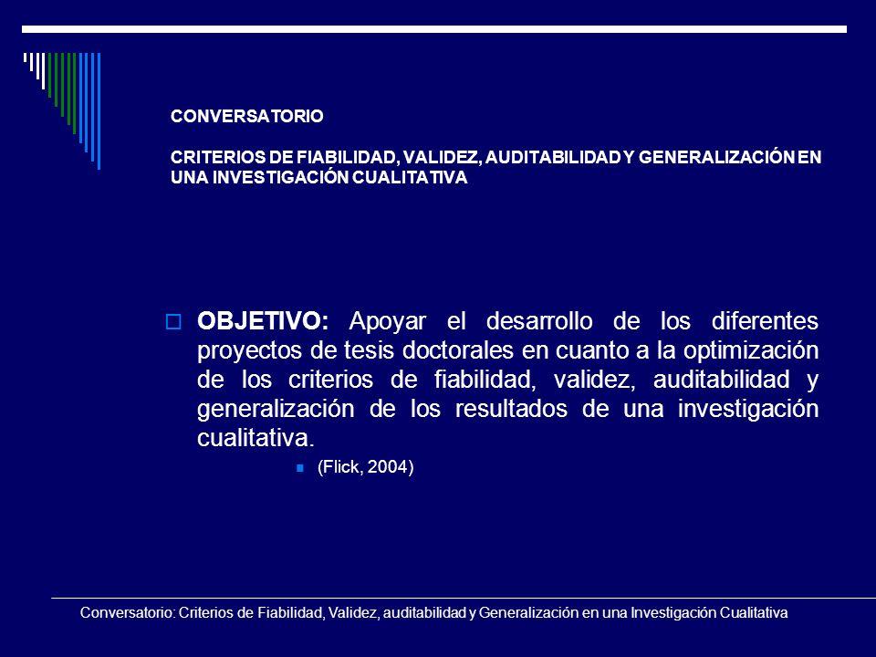 Conversatorio: Criterios de Fiabilidad, Validez, auditabilidad y Generalización en una Investigación Cualitativa CONVERSATORIO CRITERIOS DE FIABILIDAD