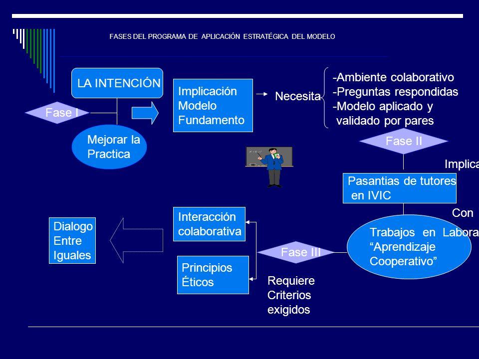 FASES DEL PROGRAMA DE APLICACIÓN ESTRATÉGICA DEL MODELO LA INTENCIÓN Mejorar la Practica Implicación Modelo Fundamento Necesita -Ambiente colaborativo