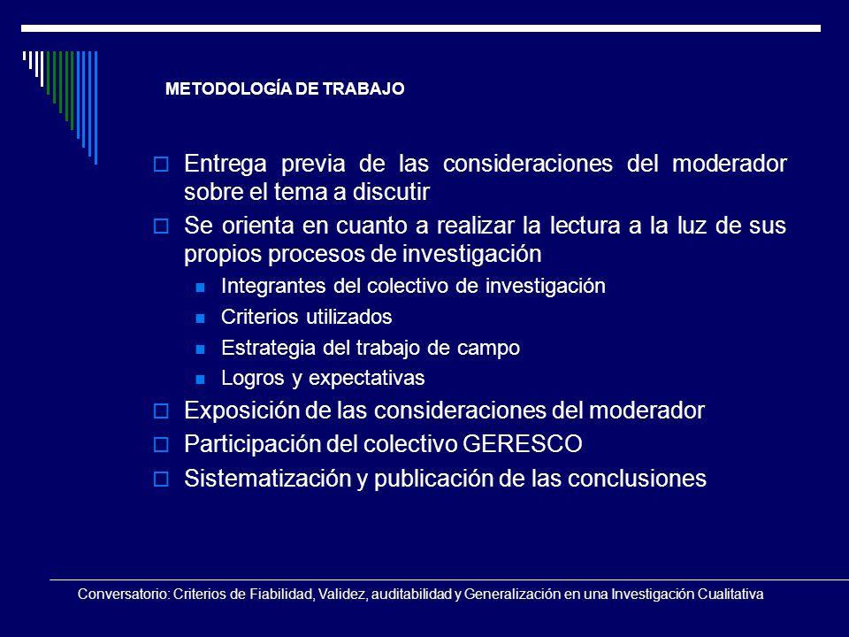 Conversatorio: Criterios de Fiabilidad, Validez, auditabilidad y Generalización en una Investigación Cualitativa METODOLOGÍA DE TRABAJO Entrega previa