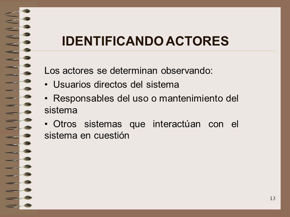 13 IDENTIFICANDO ACTORES Los actores se determinan observando: Usuarios directos del sistema Responsables del uso o mantenimiento del sistema Otros si