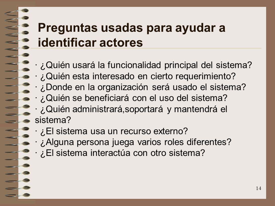 14 Preguntas usadas para ayudar a identificar actores · ¿Quién usará la funcionalidad principal del sistema? · ¿Quién esta interesado en cierto requer