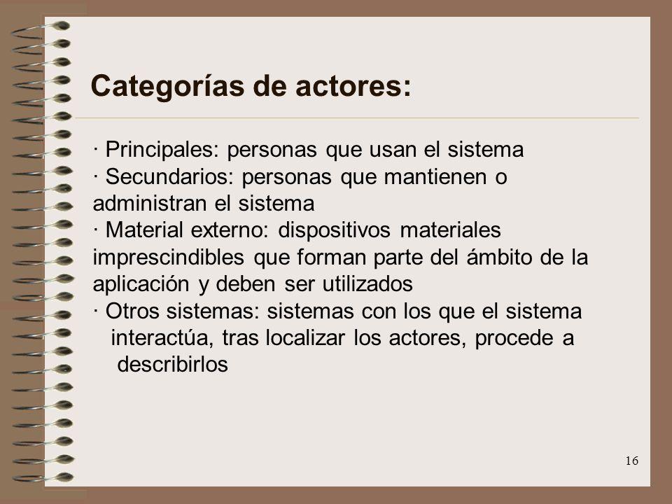 16 Categorías de actores: · Principales: personas que usan el sistema · Secundarios: personas que mantienen o administran el sistema · Material extern