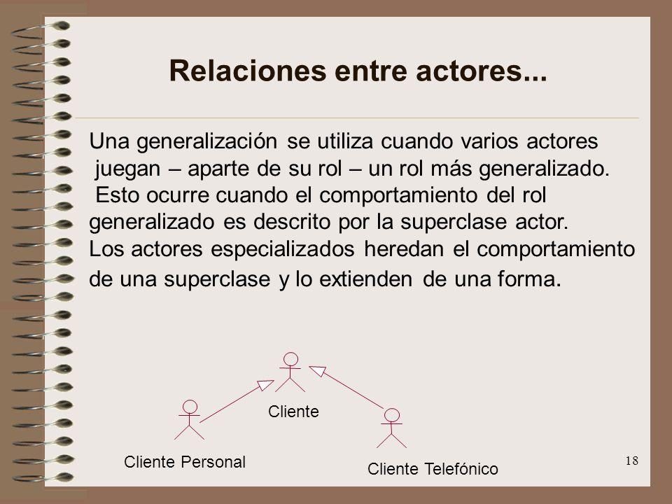 18 Relaciones entre actores... Una generalización se utiliza cuando varios actores juegan – aparte de su rol – un rol más generalizado. Esto ocurre cu