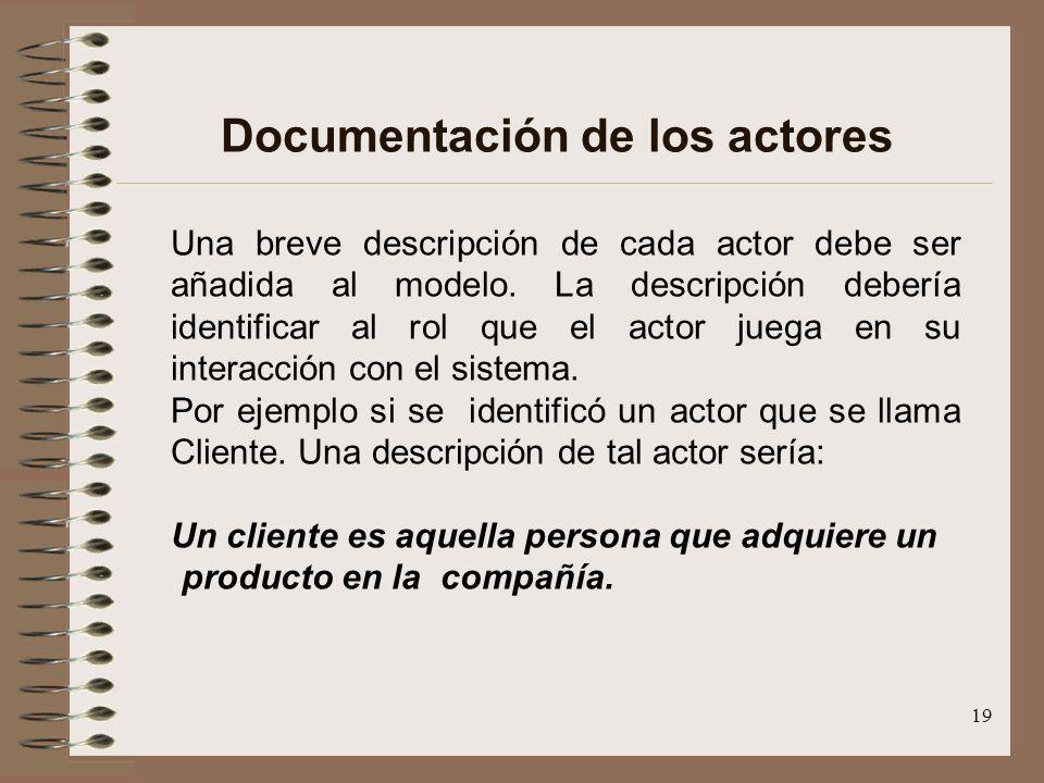 19 Documentación de los actores Una breve descripción de cada actor debe ser añadida al modelo. La descripción debería identificar al rol que el actor