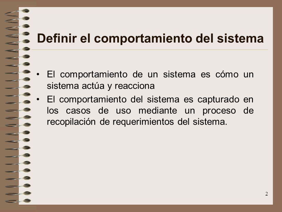 2 Definir el comportamiento del sistema El comportamiento de un sistema es cómo un sistema actúa y reacciona El comportamiento del sistema es capturad