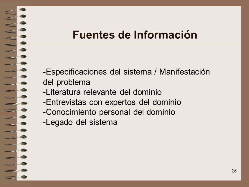 26 Fuentes de Información -Especificaciones del sistema / Manifestación del problema -Literatura relevante del dominio -Entrevistas con expertos del d
