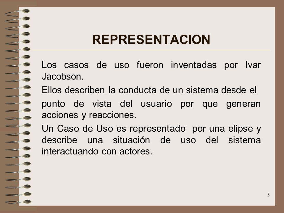 5 REPRESENTACION Los casos de uso fueron inventadas por Ivar Jacobson. Ellos describen la conducta de un sistema desde el punto de vista del usuario p