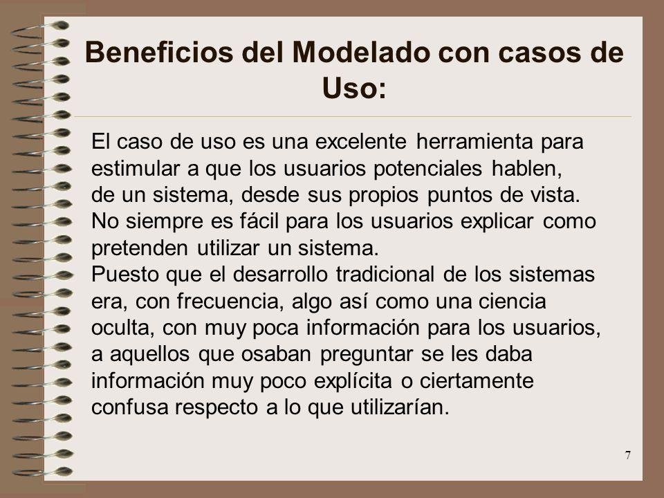 7 Beneficios del Modelado con casos de Uso: El caso de uso es una excelente herramienta para estimular a que los usuarios potenciales hablen, de un si