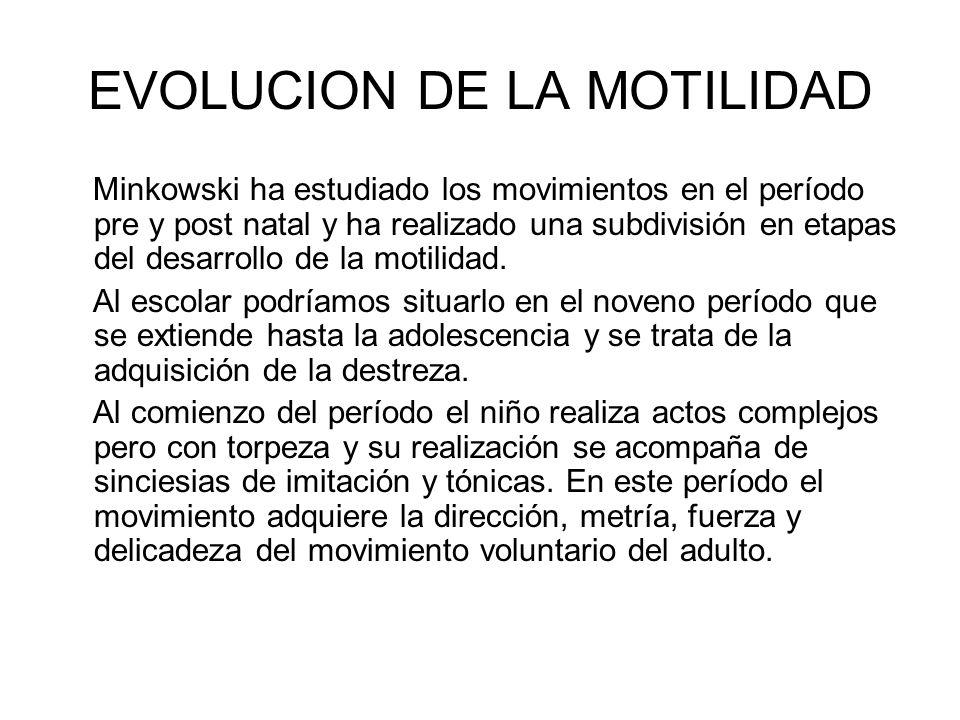 EVOLUCION DE LA MOTILIDAD Minkowski ha estudiado los movimientos en el período pre y post natal y ha realizado una subdivisión en etapas del desarroll
