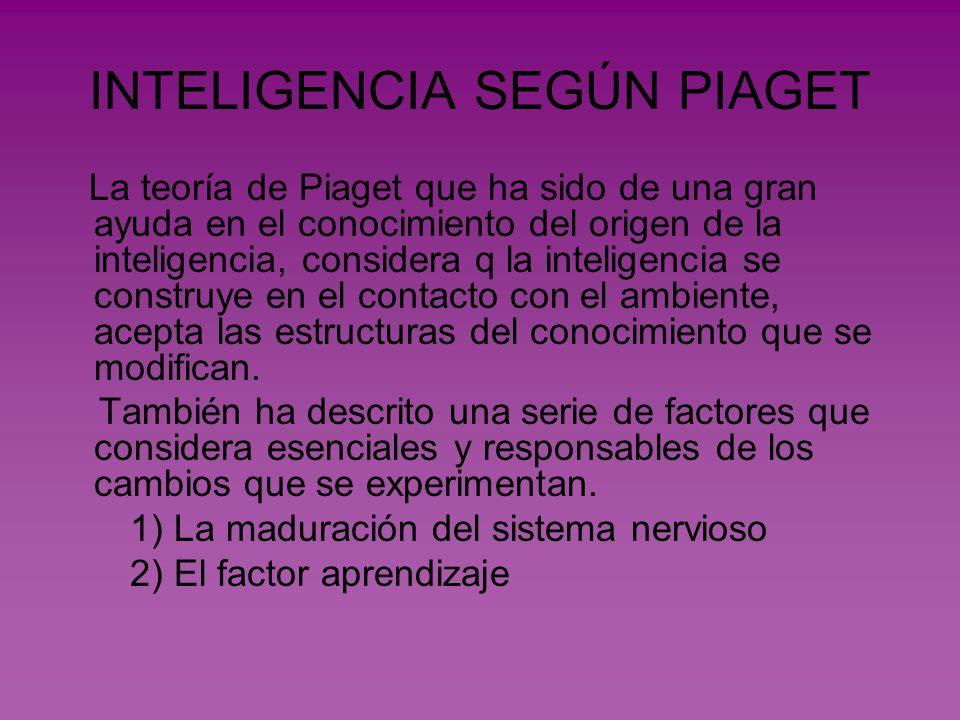 INTELIGENCIA SEGÚN PIAGET La teoría de Piaget que ha sido de una gran ayuda en el conocimiento del origen de la inteligencia, considera q la inteligen