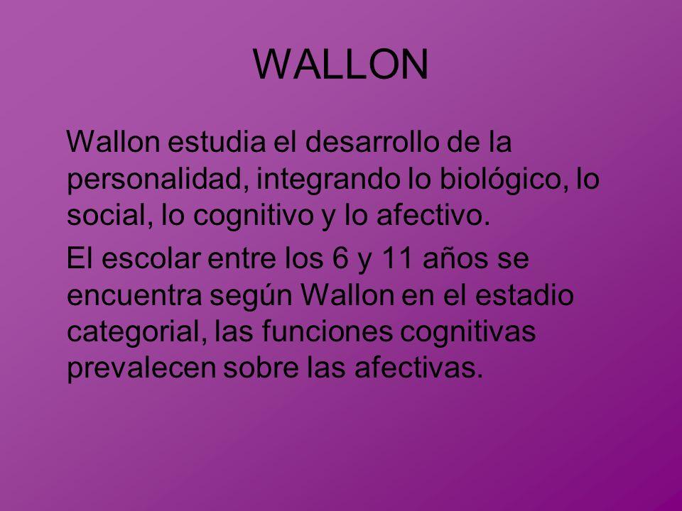 WALLON Wallon estudia el desarrollo de la personalidad, integrando lo biológico, lo social, lo cognitivo y lo afectivo. El escolar entre los 6 y 11 añ