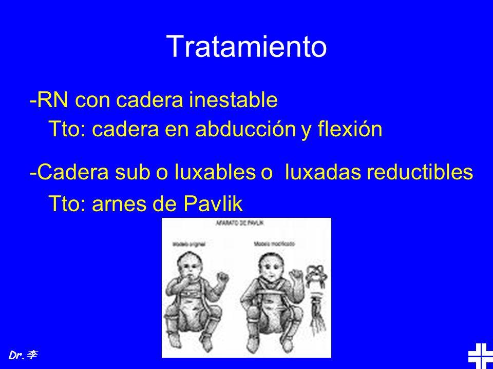 Tratamiento -RN con cadera inestable Tto: cadera en abducción y flexión -Cadera sub o luxables o luxadas reductibles Tto: arnes de Pavlik Dr.