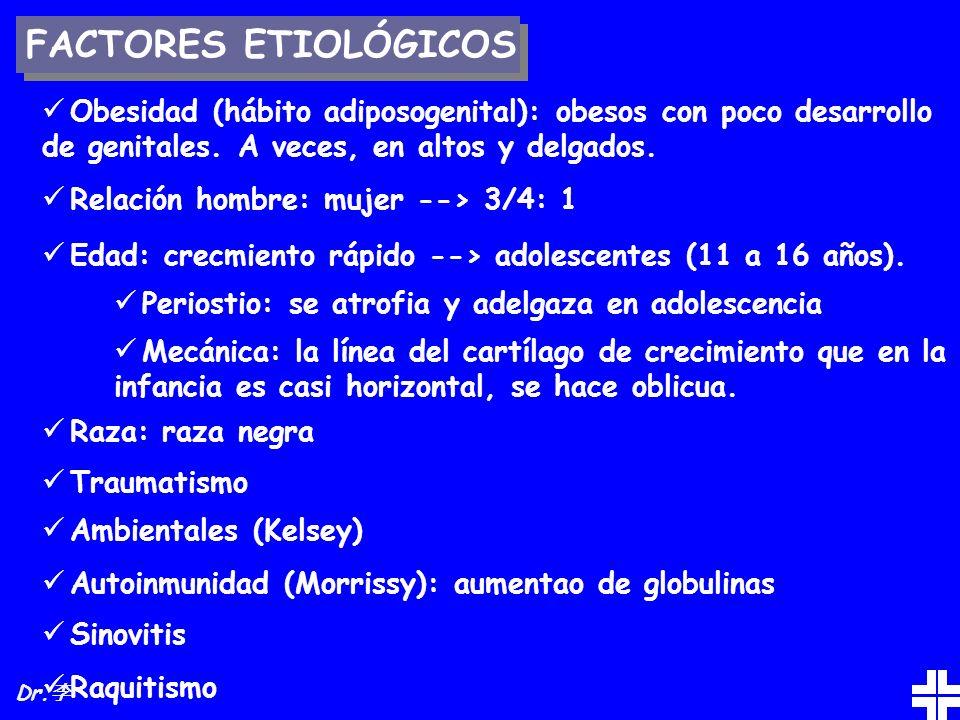 FACTORES ETIOLÓGICOS Obesidad (hábito adiposogenital): obesos con poco desarrollo de genitales. A veces, en altos y delgados. Relación hombre: mujer -
