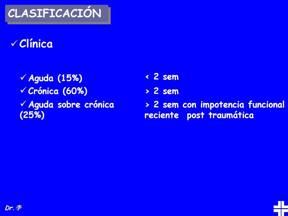 CLASIFICACIÓN Clínica Aguda (15%) Crónica (60%) Aguda sobre crónica (25%) < 2 sem > 2 sem > 2 sem con impotencia funcional reciente post traumática Dr