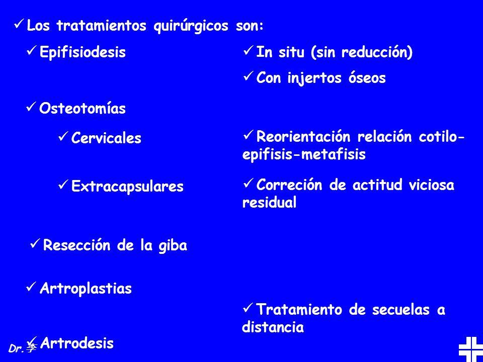 Los tratamientos quirúrgicos son: Epifisiodesis Osteotomías Artroplastias Artrodesis In situ (sin reducción) Con injertos óseos Cervicales Reorientaci