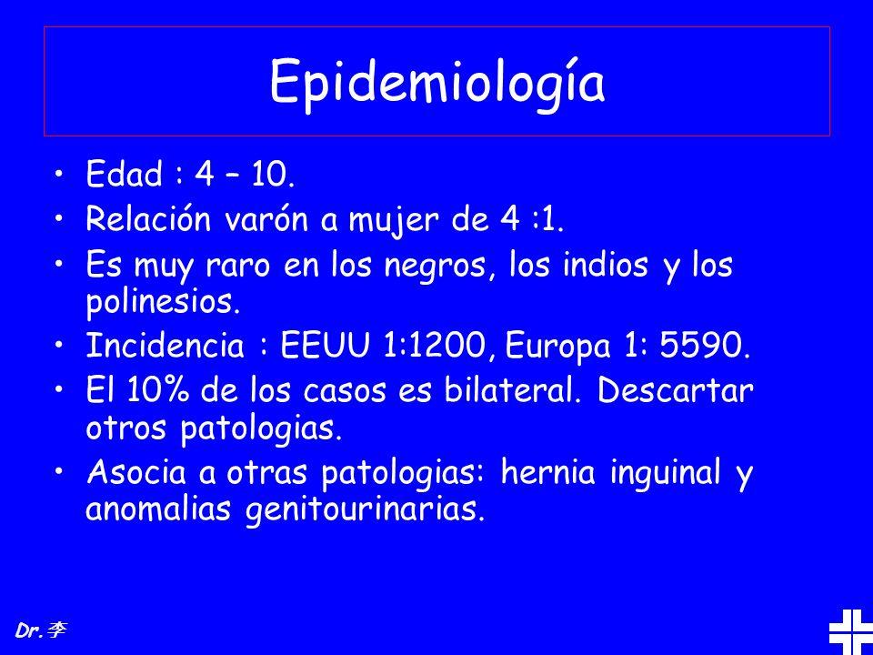 Epidemiología Edad : 4 – 10. Relación varón a mujer de 4 :1. Es muy raro en los negros, los indios y los polinesios. Incidencia : EEUU 1:1200, Europa