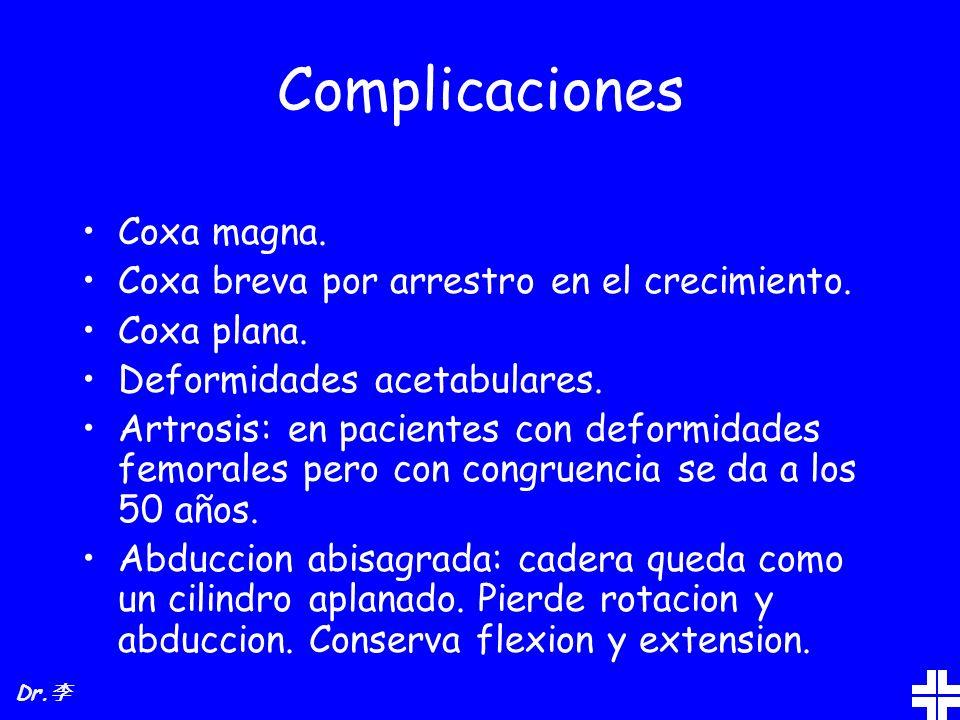 Complicaciones Coxa magna. Coxa breva por arrestro en el crecimiento. Coxa plana. Deformidades acetabulares. Artrosis: en pacientes con deformidades f