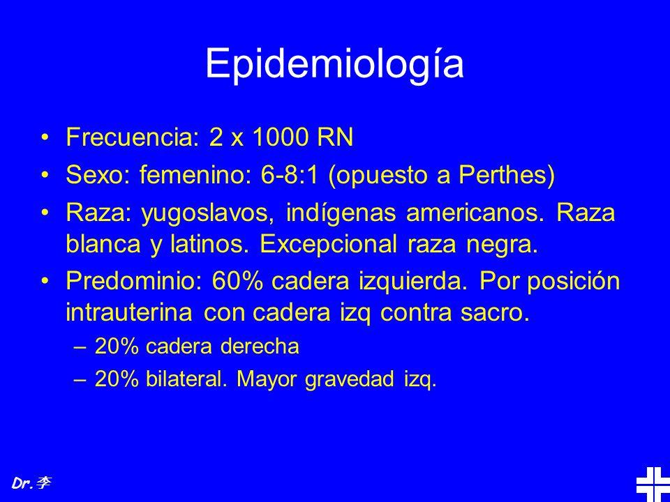 Epidemiología Frecuencia: 2 x 1000 RN Sexo: femenino: 6-8:1 (opuesto a Perthes) Raza: yugoslavos, indígenas americanos. Raza blanca y latinos. Excepci