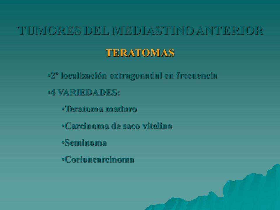 TUMORES DEL MEDIASTINO ANTERIOR TERATOMAS 2º localización extragonadal en frecuencia2º localización extragonadal en frecuencia 4 VARIEDADES:4 VARIEDAD
