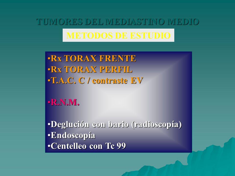 TUMORES DEL MEDIASTINO MEDIO METODOS DE ESTUDIO Rx TORAX FRENTERx TORAX FRENTE Rx TORAX PERFILRx TORAX PERFIL T.A.C. C / contraste EVT.A.C. C / contra