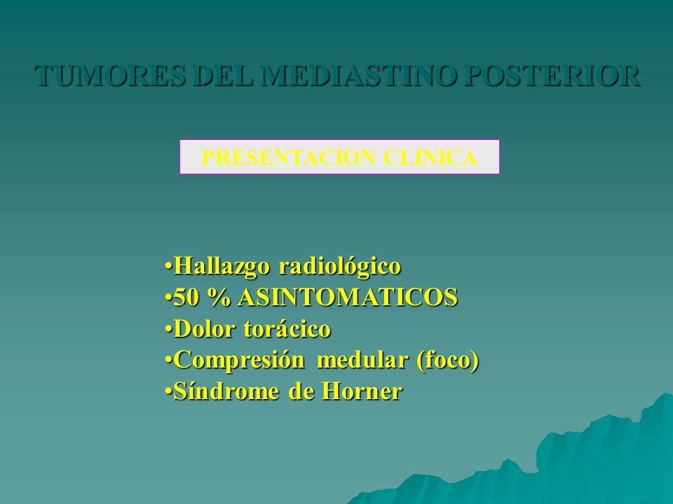 TUMORES DEL MEDIASTINO POSTERIOR PRESENTACION CLINICA Hallazgo radiológicoHallazgo radiológico 50 % ASINTOMATICOS50 % ASINTOMATICOS Dolor torácicoDolo
