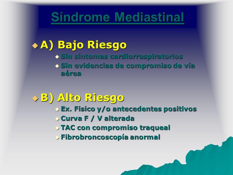 Síndrome Mediastinal A) Bajo Riesgo A) Bajo Riesgo Sin síntomas cardiorrespiratorios Sin síntomas cardiorrespiratorios Sin evidencias de compromiso de