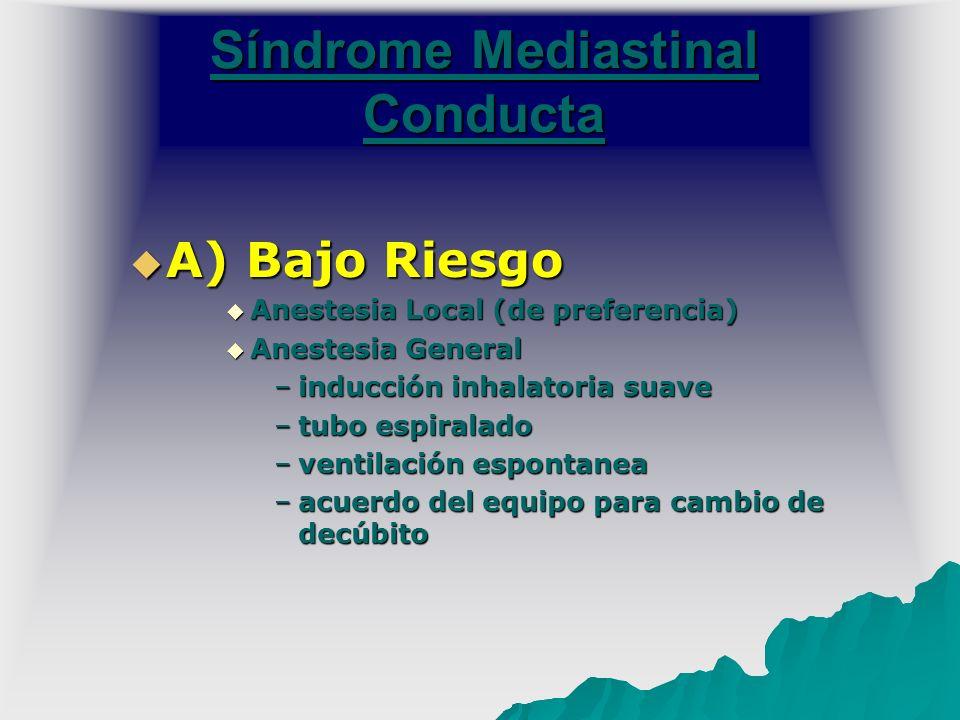 Síndrome Mediastinal Conducta A) Bajo Riesgo A) Bajo Riesgo Anestesia Local (de preferencia) Anestesia Local (de preferencia) Anestesia General Aneste