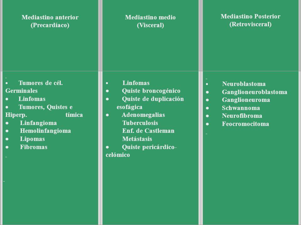 Tumores del Mediastino (según localización) Mediastino anterior (Precardíaco) Mediastino medio (Visceral) Mediastino Posterior (Retrovisceral) Tumores