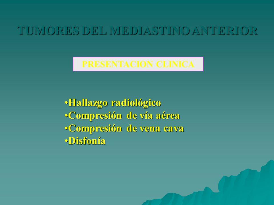 TUMORES DEL MEDIASTINO ANTERIOR PRESENTACION CLINICA Hallazgo radiológicoHallazgo radiológico Compresión de vía aéreaCompresión de vía aérea Compresió