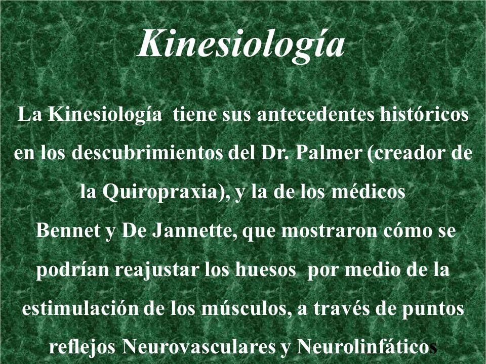 Kinesiología La Kinesiología tiene sus antecedentes históricos en los descubrimientos del Dr. Palmer (creador de la Quiropraxia), y la de los médicos