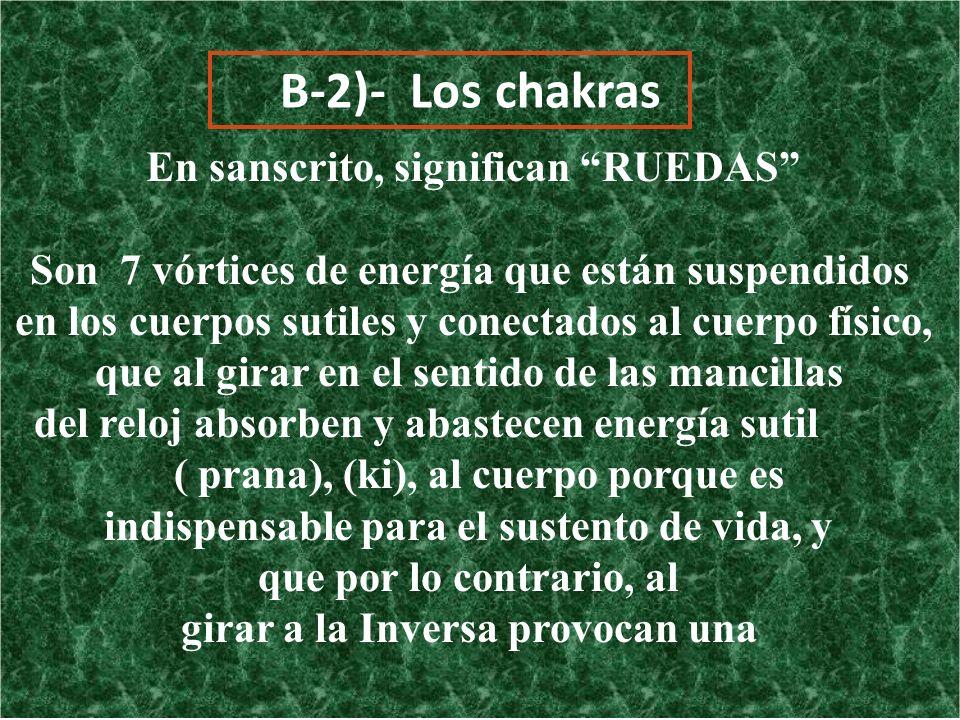 B-2)- Los chakras En sanscrito, significan RUEDAS Son 7 vórtices de energía que están suspendidos en los cuerpos sutiles y conectados al cuerpo físico