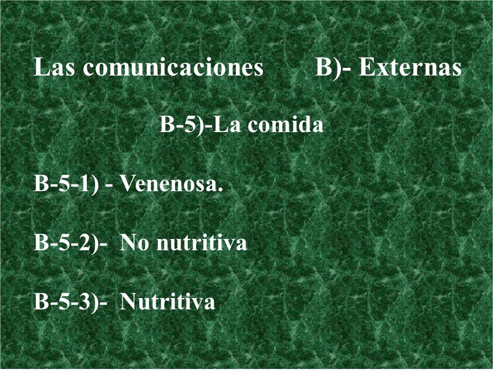Las comunicaciones B)- Externas B-5)-La comida B-5-1) - Venenosa. B-5-2)- No nutritiva B-5-3)- Nutritiva