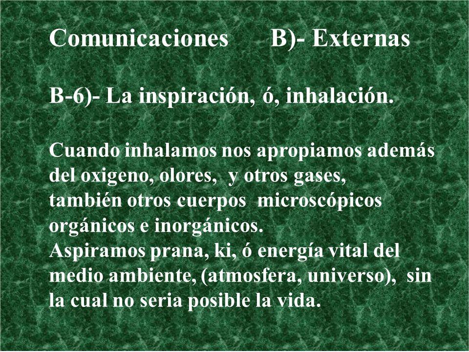 Comunicaciones B)- Externas B-6)- La inspiración, ó, inhalación. Cuando inhalamos nos apropiamos además del oxigeno, olores, y otros gases, también ot